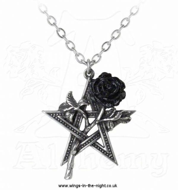 ALCHEMY GOTHIC Black Pentagram Rose Necklace